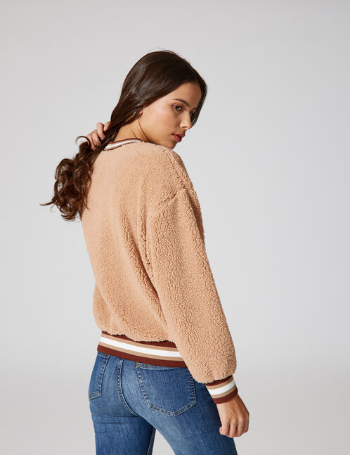 Beige faux fur sweatshirt