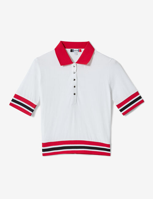 White and red polo shirt-style T-shirt