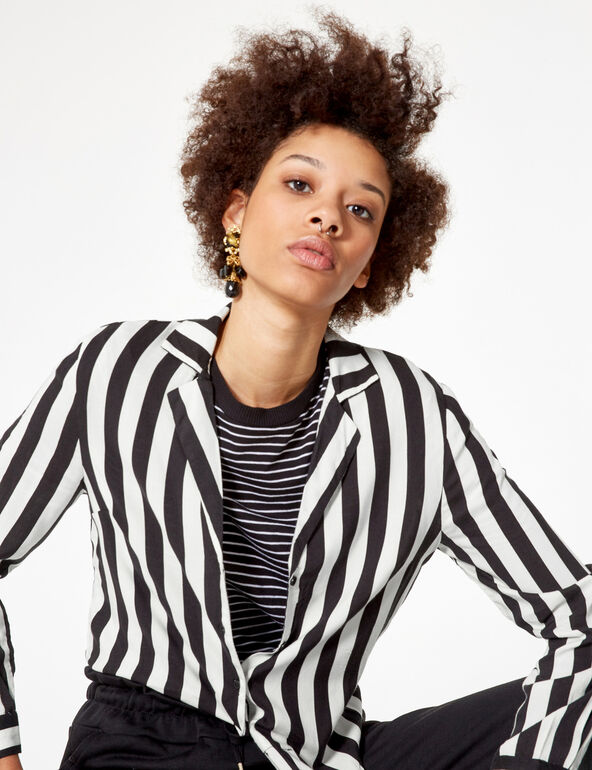 Black and white striped tie-fastening shirt