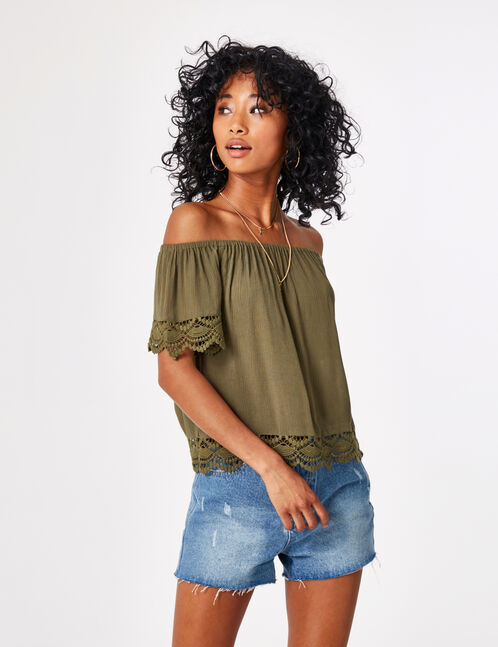 Khaki blouse with lace detail
