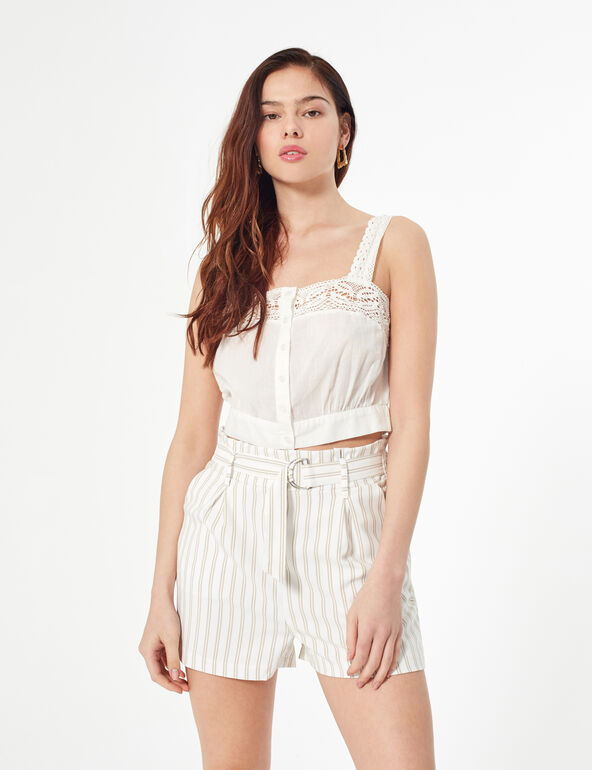 Striped high-waisted shorts