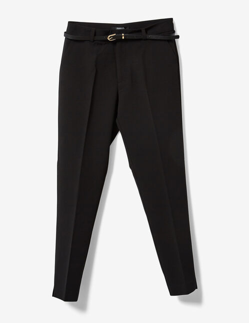 Black tailored trousers with belt detail