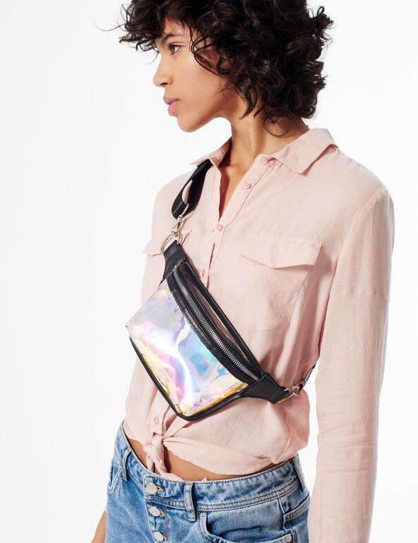 Iridescent zipped bumbag
