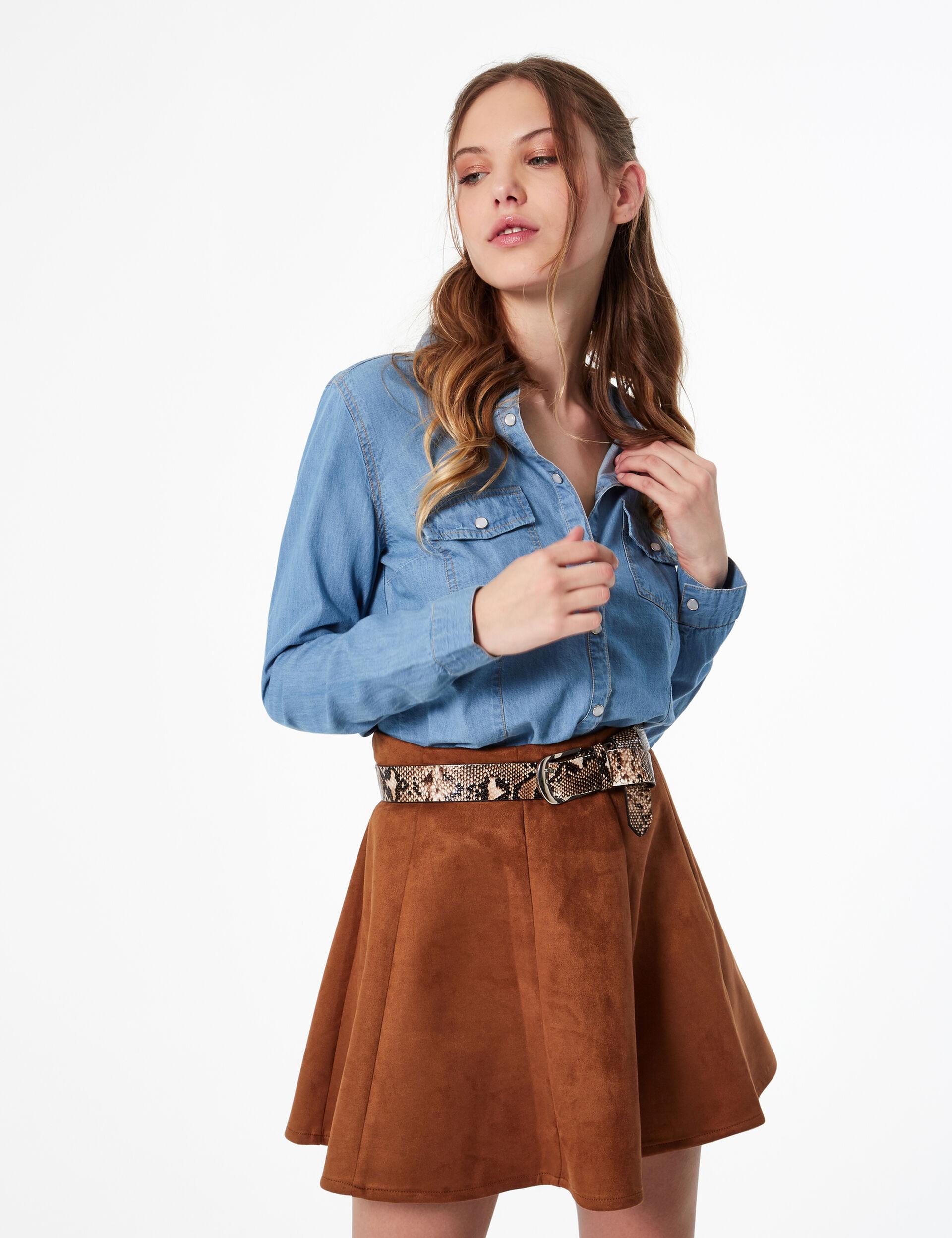 Imitation suede A-line skirt