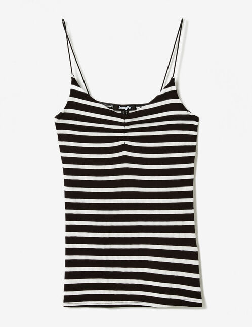 Black and white striped spaghetti strap camisole