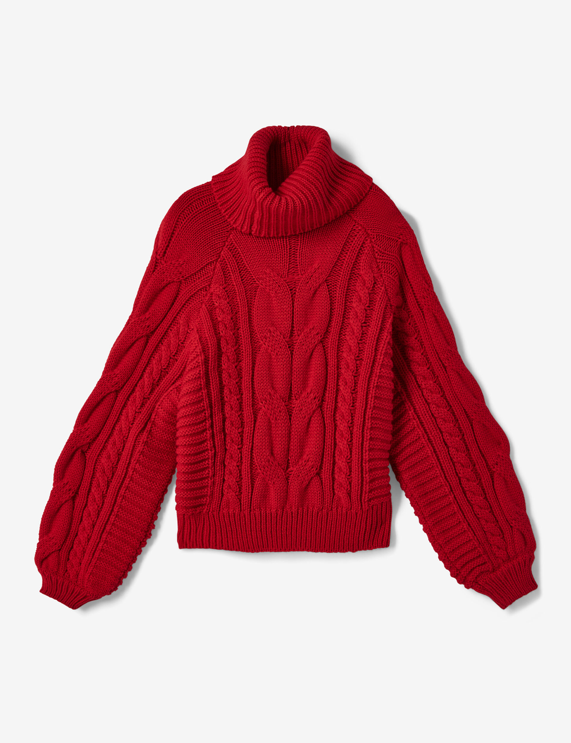 Red braided knit polo neck jumper