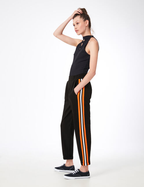 Black, orange and white joggers with striped side trim detail