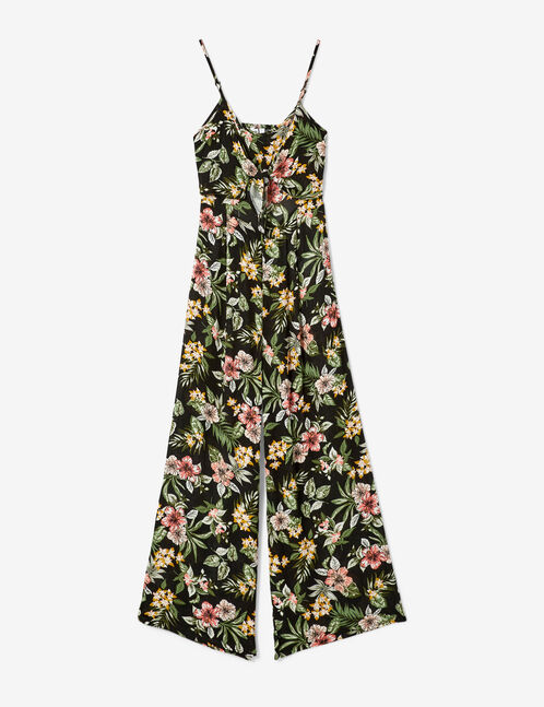Black floral jumpsuit
