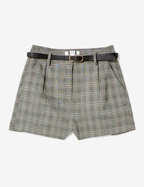 Grey, white and neon green belted shorts