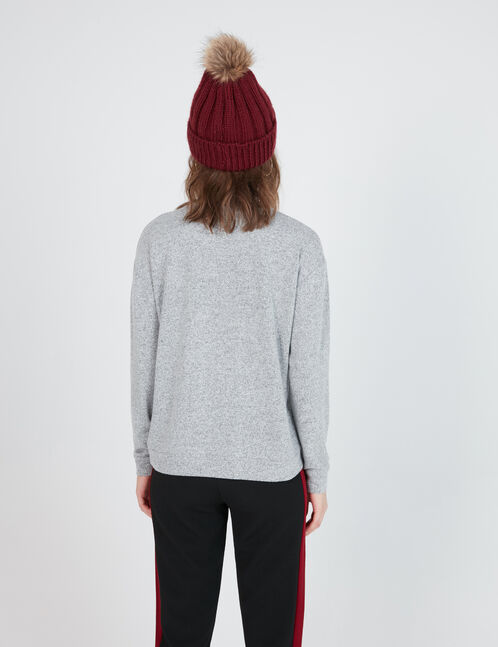 Grey marl long-sleeved T-shirt