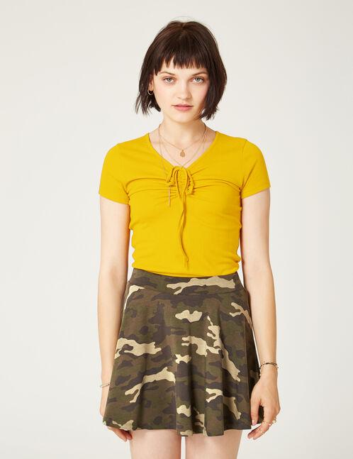 Khaki camouflage mini skater skirt