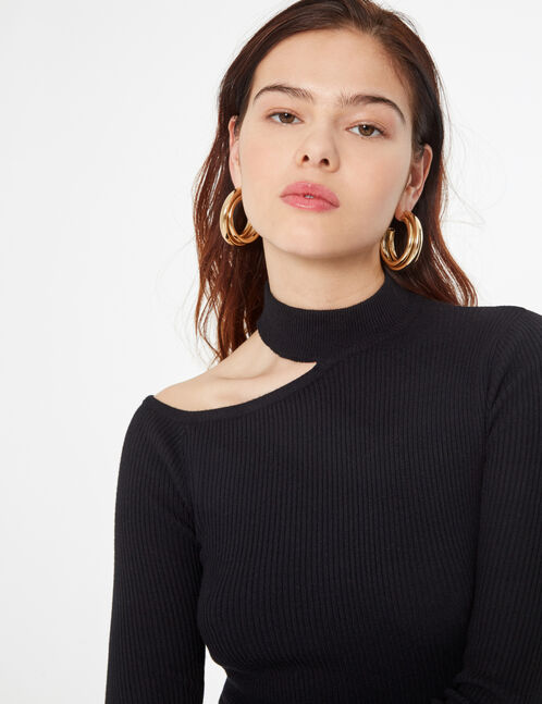 asymmetrical ribbed jumper