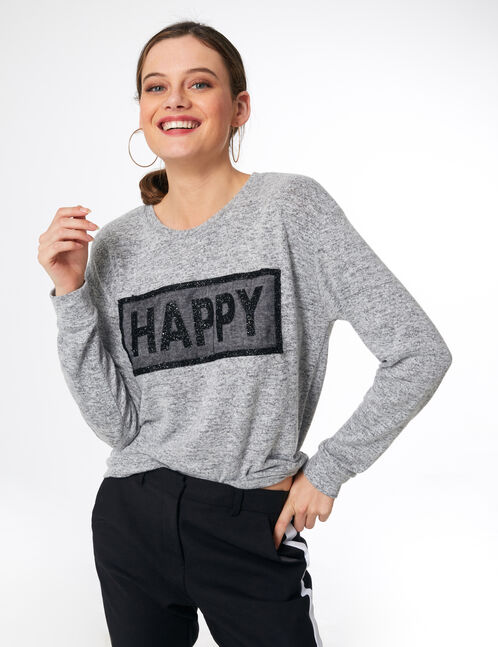 tee-shirt happy gris chiné