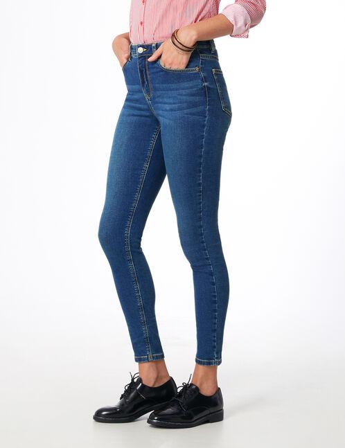 Blue high-waisted super skinny jeans