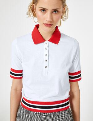 tee shirt esprit polo blanc et rouge