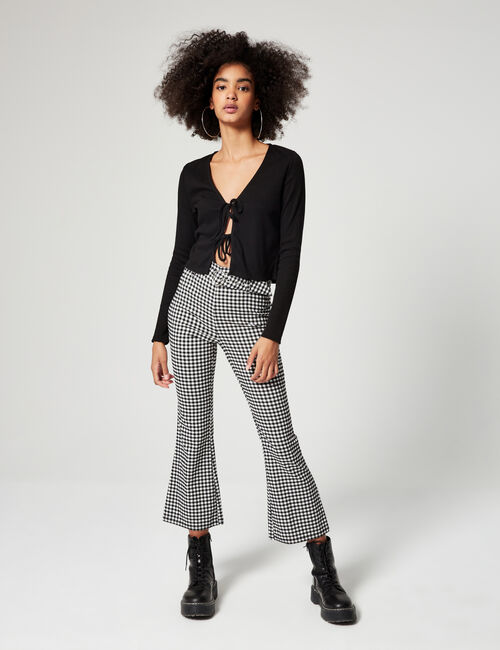 Gingham flared trousers