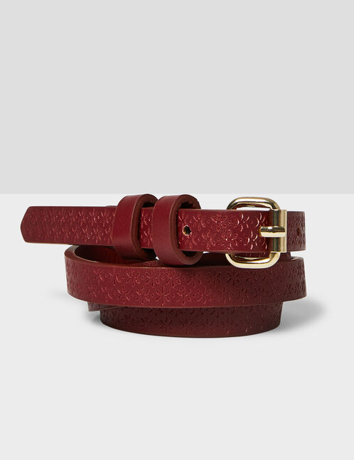 Burgundy textured skinny belt