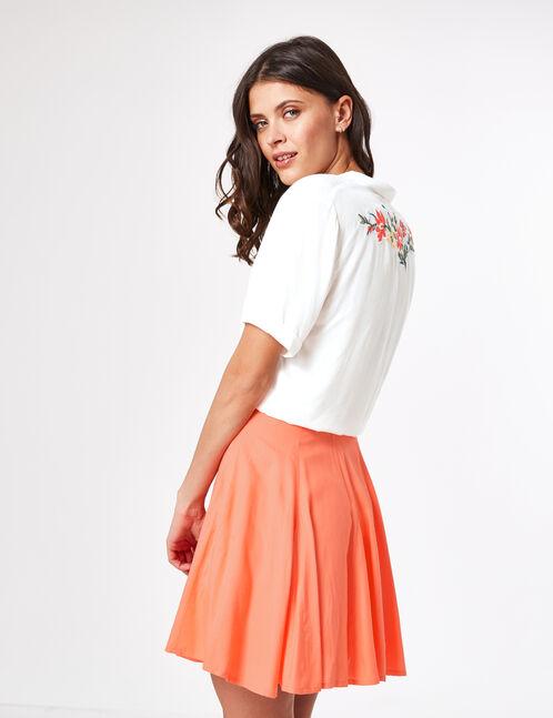 Coral flared miniskirt