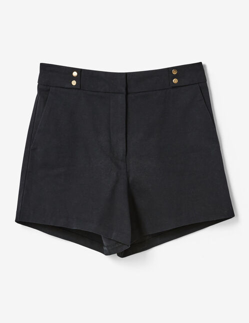 Black high-waisted tailored shorts