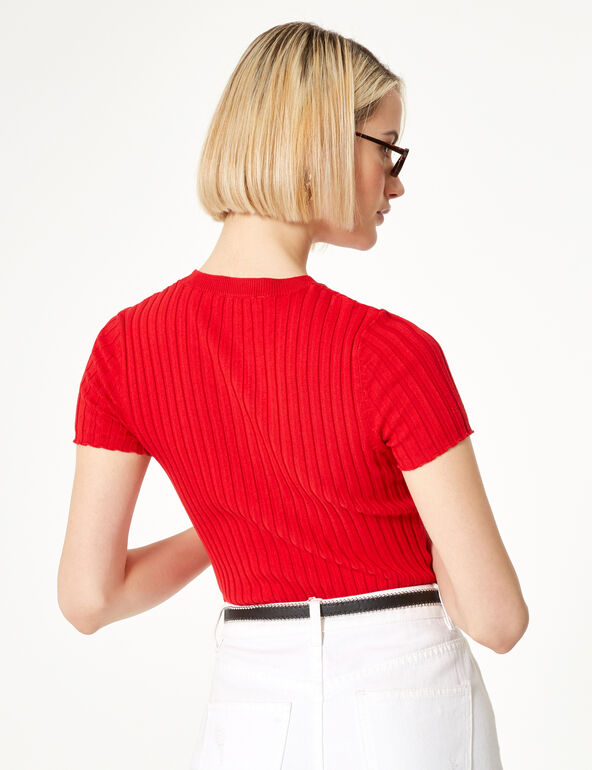 Pull manches courtes rouge