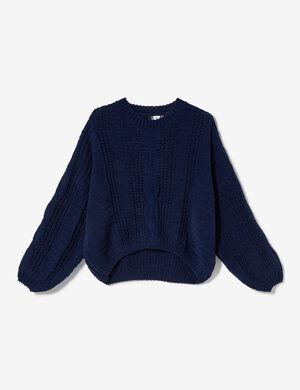 Product Pull femme, bleu marine, maille chenille ajourée, finitions bords côtes, col rond, manches longues. Photos retouchéesMarque Jennyfer Catégorie pulls + gilets