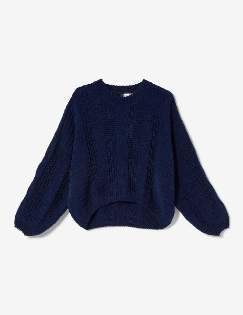pull chenille ajourée bleu marine