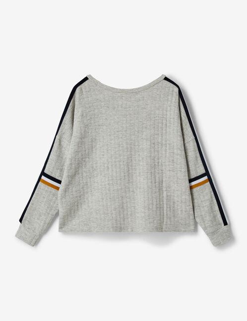 tee-shirt manches longues gris chiné