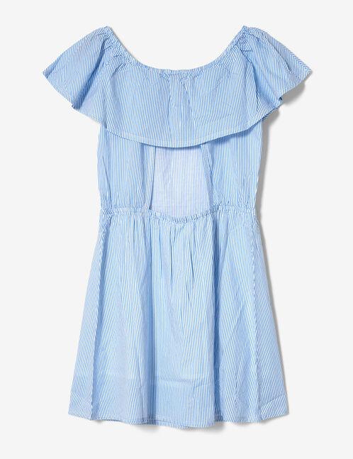robe rayée à volants bleu ciel et blanche