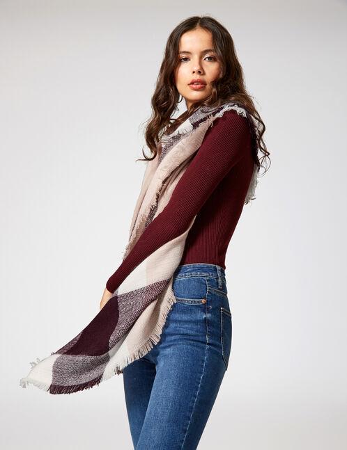 Burgundy, light pink and white tartan scarf