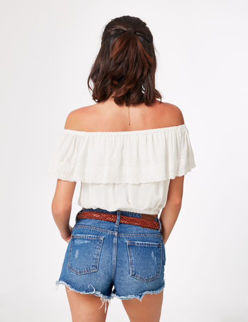 Cream top with frill and embroidery details