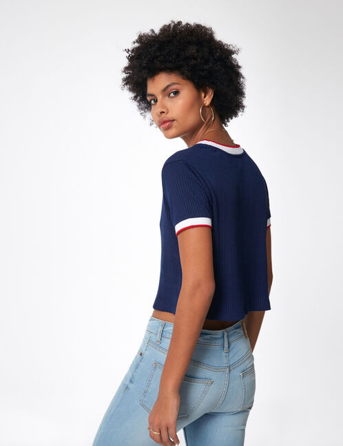Navy blue T-shirt with striped trim detail