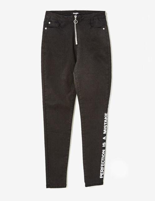 pantalon skinny à message noir