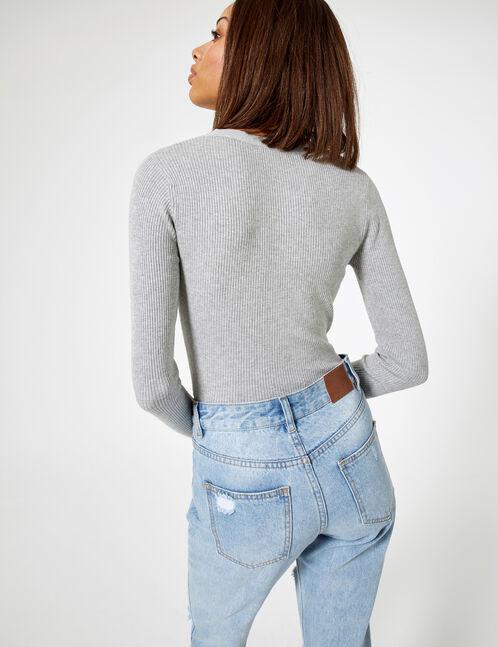 Grey marl buttoned rib-knit cardigan