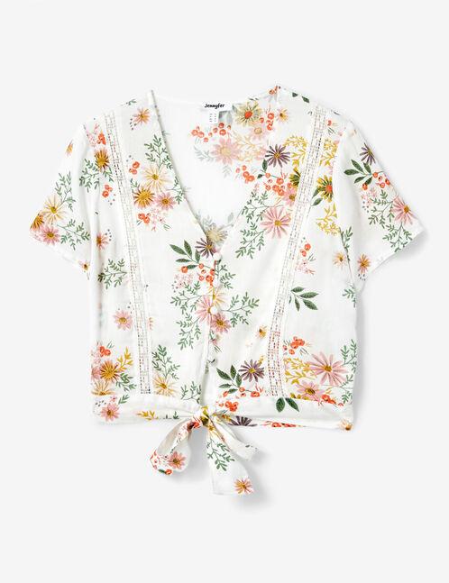 Cream tie-fastening floral blouse
