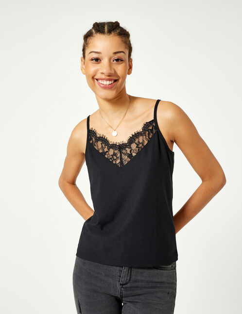 Black camisole with lace detail