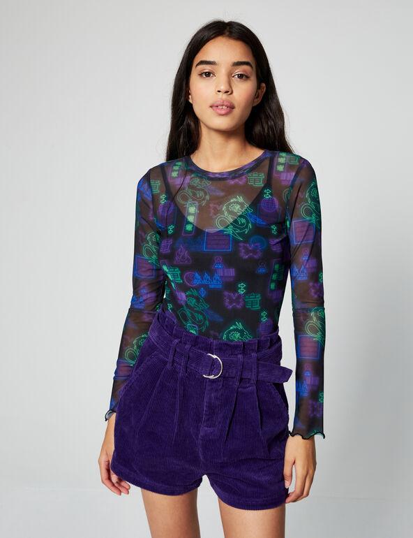 High-waisted velvet shorts