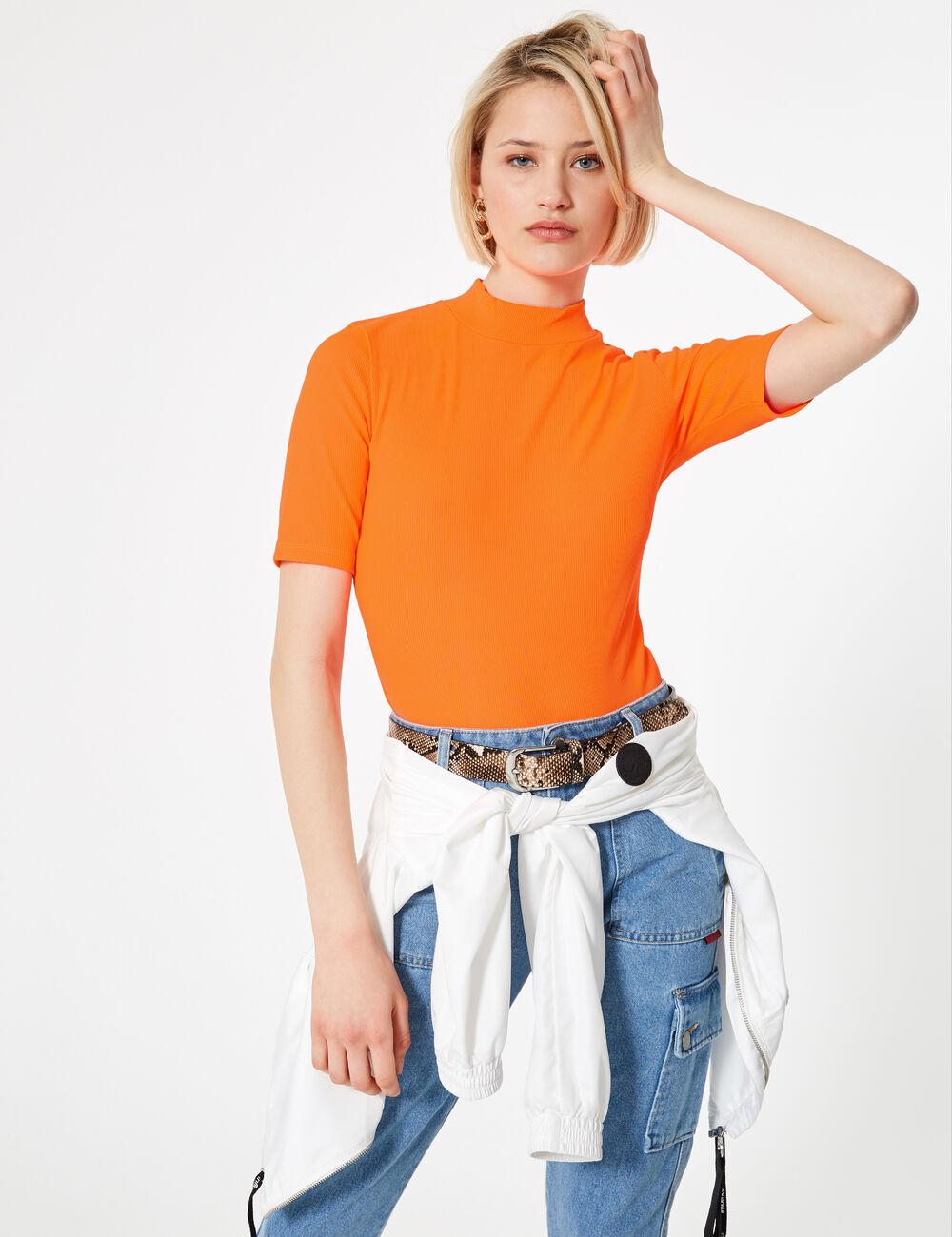 Body maille côtelée orange fluo femme • Jennyfer