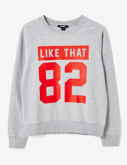 Grey marl sweatshirt with text design detail