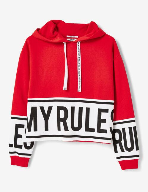 sweat à capuche my rules rouge