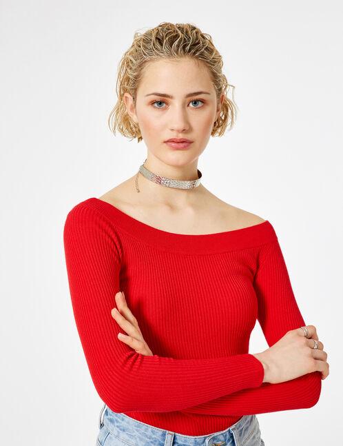 Red ribbed boat neck jumper