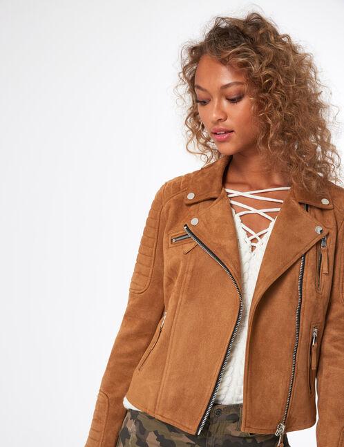 Camel faux suede biker jacket