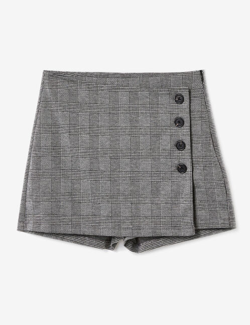 Grey and black miniskirt with belt detail