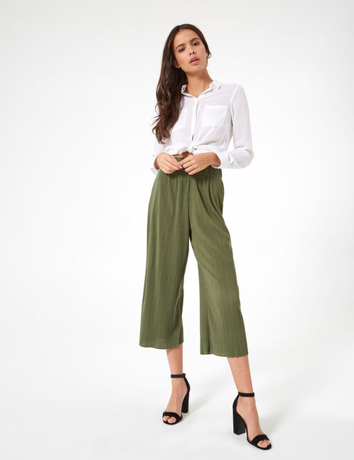 jupe culotte plissée kaki