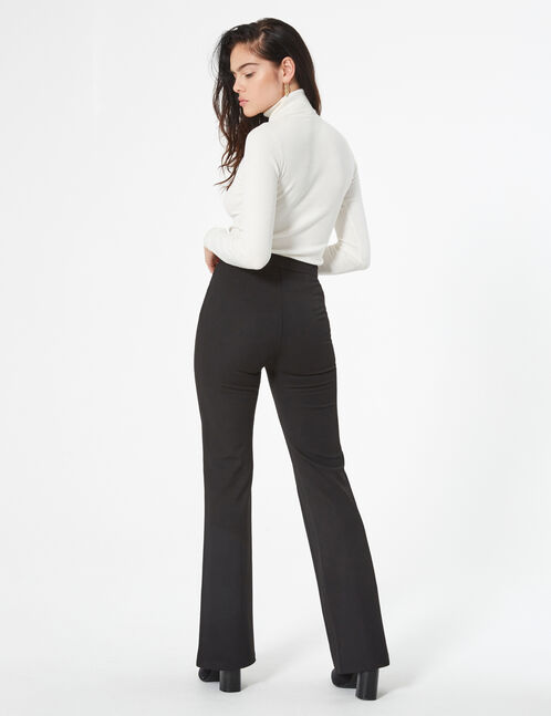 flared trousers with zip detail