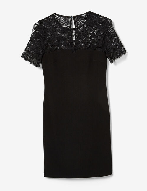 Black textured dress with lace detail