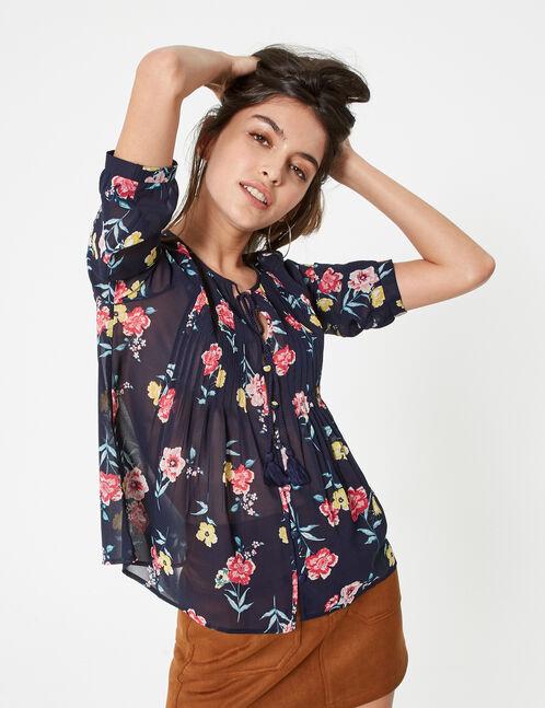 Navy blue floral blouse