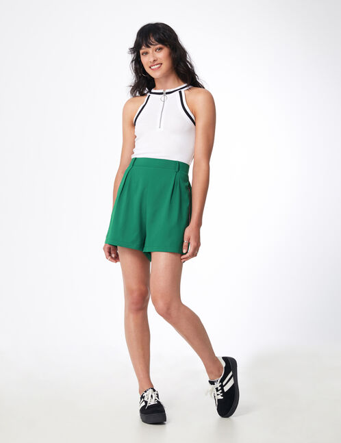 Green tailored shorts with striped side trim detail