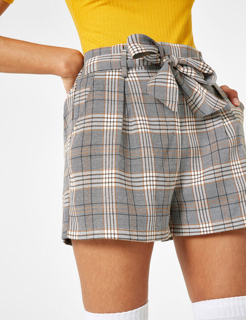 White, black and camel checked shorts