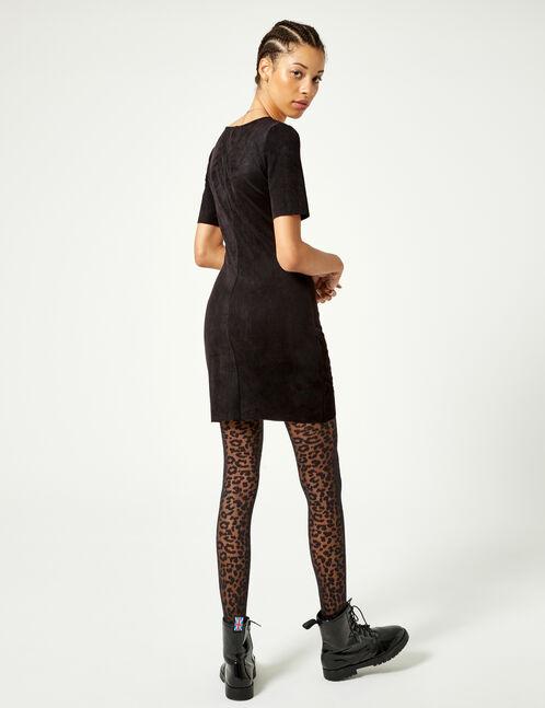 Black faux suede dress