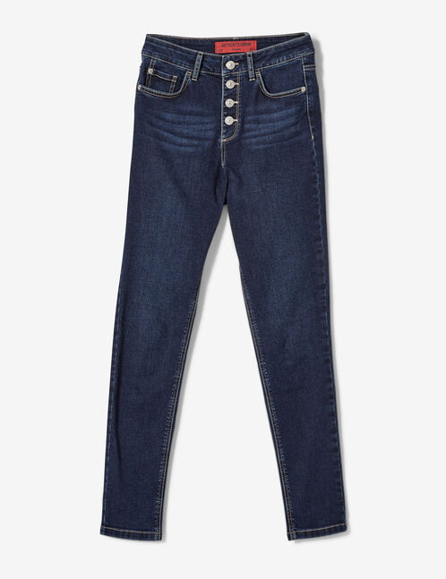 Dark blue high-waisted buttoned jeans